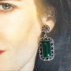 Stunning marcasite and simulated emerald earrings